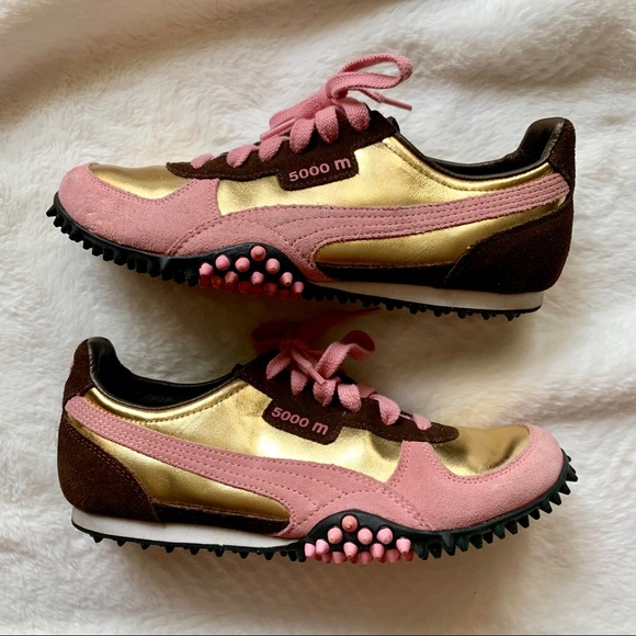 Guc Puma 500m Pink Gold Brown Sneakers